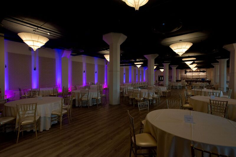 purple or pink wedding lighting with mixed blue and red